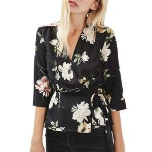 TopShop Black Floral Kimono Wrap Top